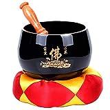 Ciotole di Canto,Nero Tibetano Singing Bowl con Stick Cuscino Sonoro Buddista Ciotola Ornamento per La Meditazione Yoga Chakra Guarigione Mindfulness Zen Energia Unica Casa Deco,da 4 Pollici
