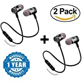 Shaarq (Pack of 2) Magnetic Bluetooth Attractive Headphone with Noise Isolation and Hands-Free Mic and Buttons with Magnetic Earbuds Secure Fit