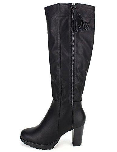 Cendriyon Botte Noire Simili Cuir Season Chaussures Femme