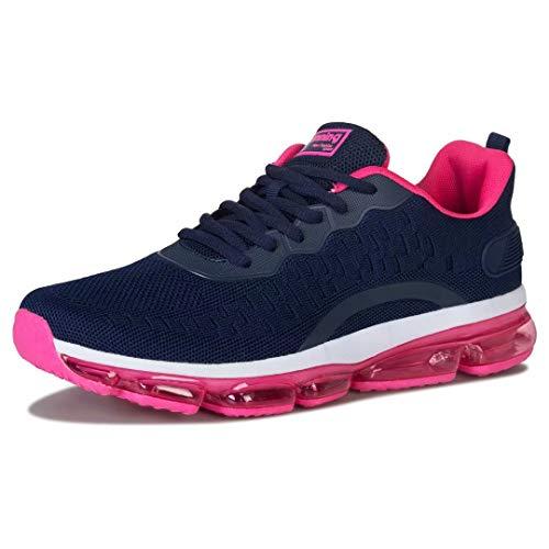 Turnschuhe Herren Laufschuhe Damen Sportschuhe Fitness Straßenlaufschuhe Sneaker für Running Outdoor(Purpur Rosa,Größe 40)