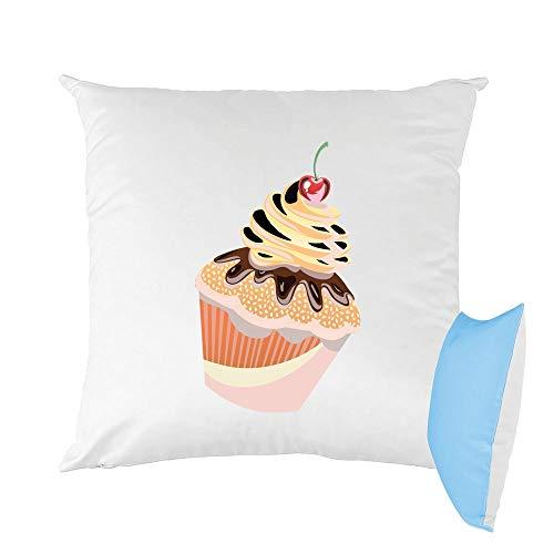 Mygoodprice Kissen zweifarbig Bedruckt 40 x 40 cm Muffin Creme Kirsche Mokka -