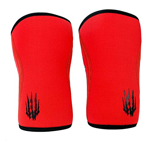 Bear KompleX Compression Knee Sleeves (SOLD AS A PAIR of 2) Weightlifting, Powerlifting, Squats, and more. Neoprene Compression sleeves come in 5mm and 7mm thickness and multiple colors, RED 7mm XXL