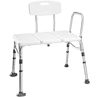 TecTake Shower Stool/Bench/seat Bath Step | Adjustable Heights | Lightweight Aluminium - Different Models - (Stool with Back and armrest | no. 402512)