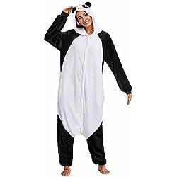 Hoplsen Cosplay Mono Pijamas Franela Dibujos Animal Novedad Navidad Pijama Unisex Adulto Animal Onesie Una sola pieza Animal Kigurumi Traje Dormir desgaste Pijamas de una pieza (L, Panda)