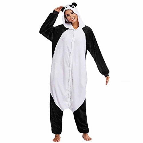 Battnot Damen Jumpsuit Kuschelig Tiere Pyjama, Frauen Flanell Panda Liebhaber Cartoon Tier Neuheit Cosplay Overalls Hosen Schlaf Playsuits Womens Casual Festlich Strand Kleidung Schwarz Weiss Weiß