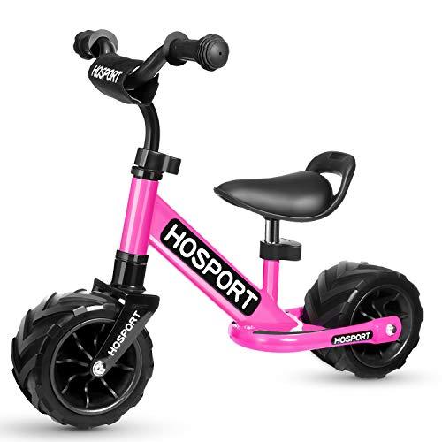 HOSPORT Kinder Laufrad für Kleinkinder Lauflernrad Balance Bike von Jungen und Mädchen 18 Monaten bis 3,5 Jahren Kinderlaufrad Training Bike mit Höhenverstellbar (Rosa)