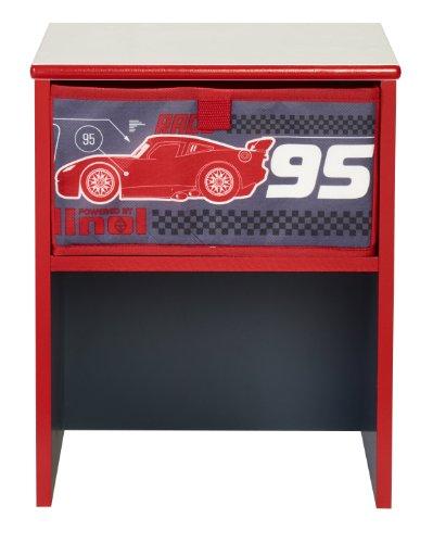 Worlds Apart 864746 Nachttisch, modern, Motiv Disney Cars, MDF-Platte, 36x29,5x27,5cm, Schwarz/Rot