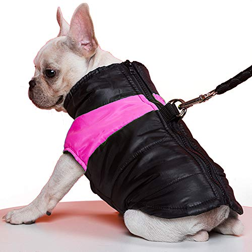 TFENG Hundemantel Hundejacke für Hunde, Warm Gepolstert Puffer Weste Welpen Regenmantel mit Fleece (Rosa, 2XL)