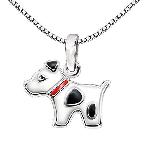 Clever Schmuck Set Silberner kleiner Anhänger Mini Hund 13 x 10 mm rot schwarz weiß und Kette Venezia 38 cm glänzend STERLING SILBER 925 für Kinder