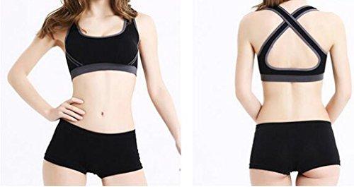 Stretch Soutien-gorge Soutien-gorge soutiens-gorge Push Up Fitness Yoga Sport Soft Bustier sans armatures 85C–90D noir