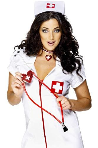 Smiffys Damen Herzförmiges Stethoskop, One Size, Rot, (Fancy Dress Stethoskop)