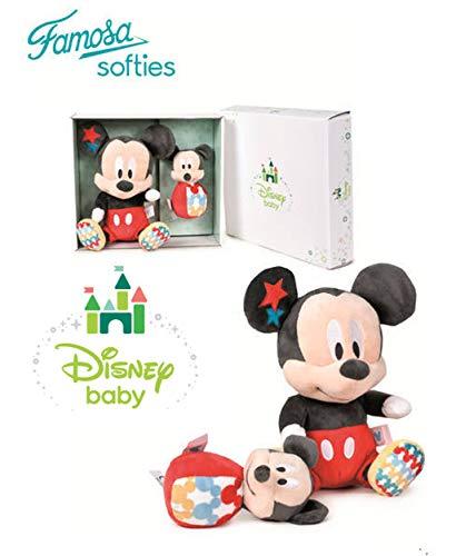 Famosa Softies Disney Baby - Set Geschenkbox Mickey Mouse Plüsch + Baby Rassel Qualität super weich