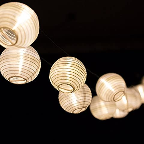 H&D Youngsun® 30er LED Solar Lichterkette Lampions Laterne 6,35 Meter Außen Innen Outdoor Garten Warmweiß Party Fest Deko Weihnachten Hochzeit Beleuchtung Warmweiß