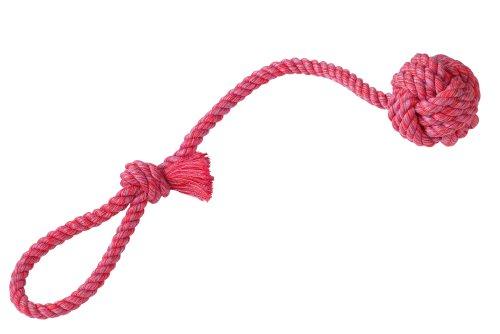 Nobby Rope Toy, Spielseil mit Wurfschlaufe sort. gelb, rot, blau 57 cm; 275 g; Ball Ø 8 cm