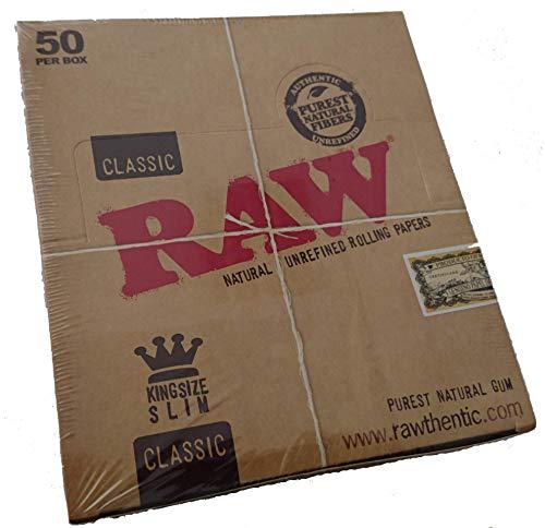 Raw King Size Slim Boite de 50 Carnets de Feuilles à Roul