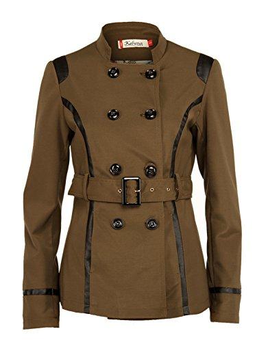 Sexy Damen Übergangsjacke Trenchcoat Jacke Kurz Mantel Herbst Trench mit Gürtel und Pu-Leder (M/36, Oliv)
