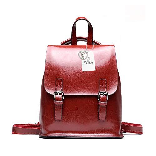 Yoome Vintage Öl-Wachs Leder Rucksack Multifunktions Geldbörse für Frauen Schultasche für Mädchen Reisen Bga Burgund