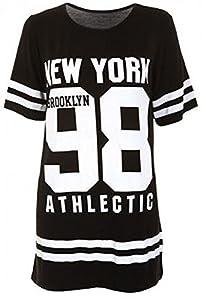 Janisramone Damen T-Shirt * Einheitsgröße Gr. M/L, schwarz