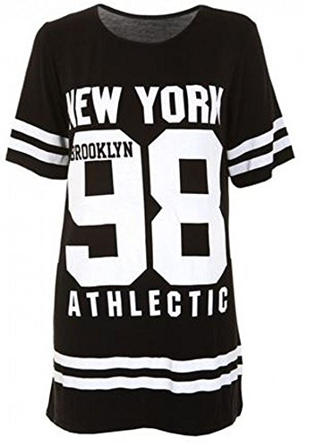 Janisramone donne baseball brooklyn nuovo york 98 oversize larghi t shirt vestito superiore Nero ML