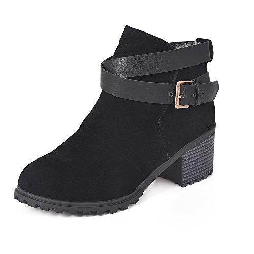 BAINASIQI Damen Stiefeletten Chelsea Boots Elegant Ankle Boots Kurzschaft Absatz Stiefel (39 EU, Schwarz)