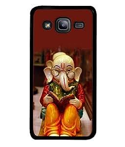 PrintVisa Designer Back Case Cover for Samsung Galaxy J2 J200G (2015) :: Samsung Galaxy J2 Duos (2015) :: Samsung Galaxy J2 J200F J200Y J200H J200Gu (Religious Lord Ganesha Sit On Floor Wearing Specs Bhagwan Spritual)