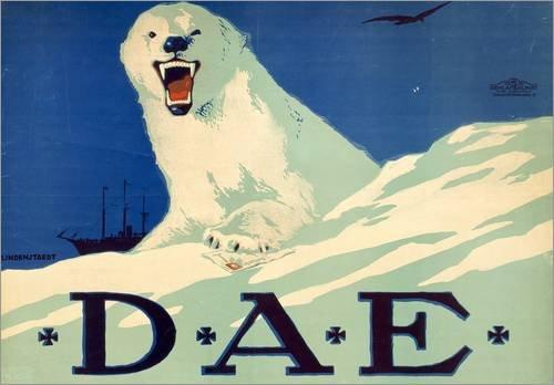 Stampa su tela 100 x 70 cm: Promotion poster for the German Arctic expedition, 1913 di Hans Lindenstaedt / Bridgeman Images - poster pronti, foto su telaio, foto su vera tela, stampa su tela