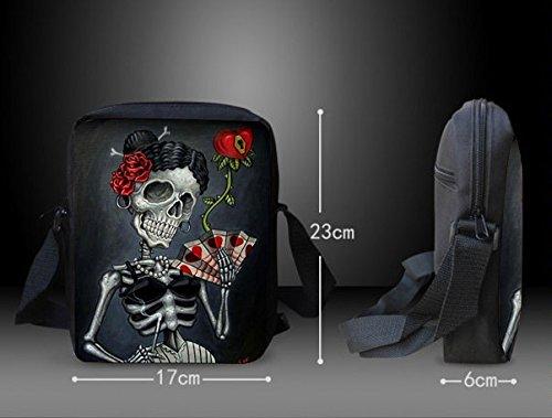 Punk-Rock Design Umhängetasche Rockabilly Style - Skull Design - 23x17 cm Gothic / Emo Tasche Skeleton Love