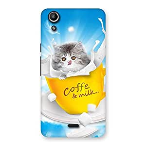 Enticing Kitty Coffee Multicolor Back Case Cover for Micromax Canvas Selfie Lens Q345
