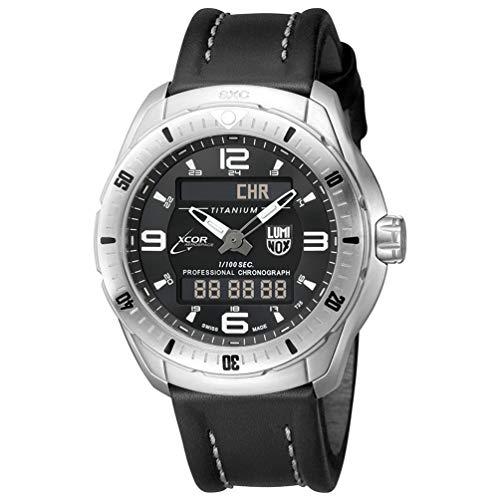 Luminox SXC/Xcor de los Hombres de Pilot Pro de Titanio y Piel de Cuarzo Swiss Reloj de Aviador, Color: Negro (Modelo: 5241)