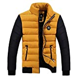 Hanomes Herren Jacke,Herren Winter Warme Daunenjacke Mode Patchwork Sweatshirt Casual Verdicken Pilotenjacke Slim Fit Sweatjacke Cozy Baumwolle Parka