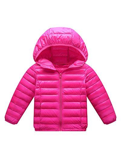 Giacche Piumino Con Cappuccio Classico Ultra Leggero Del Cappotto Parka Zipper Invernale Per Unisex Bambine E Bambino Rose 110