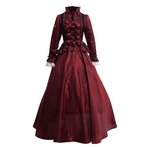 GRACEART Damen Gothic Viktorianisches Kleid Renaissance Maxi Kostüm (XL, Rot) (Gotische Viktorianische Kleider Kostüm)