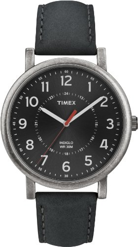 Timex T2P219D7 – Reloj analógico de cuarzo unisex, correa de cuero color negro