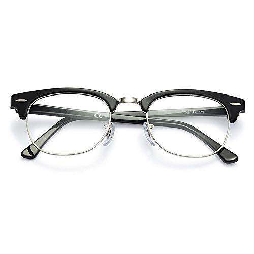 KOMNY Retro-Anti-Blu-ray-Look weit und nah in der Nähe von Alten Lichtgläsern Mode Lesebrille männlich intelligent Zoom Doppel-Licht Lesebrille Hellen schwarzen Rahmen - Silberrand, A + 200