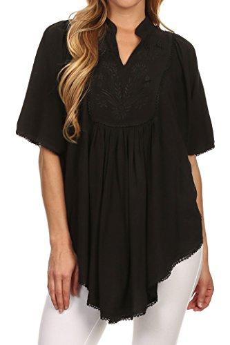 Sakkas 3790 - Martina Delicate gestickte Krawatte Dye Poncho Top / Cover Up - Solid Black - OS (Krawatte Drapierte)