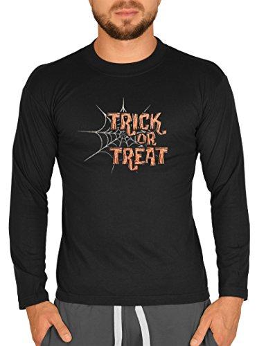 (Langarm Herren T-Shirt Halloween Horror Trick or Treat Langarmshirt Grusel Shirt Hallows' Eve Longshirt für Männer Männershirt Laiberl Leiberl)