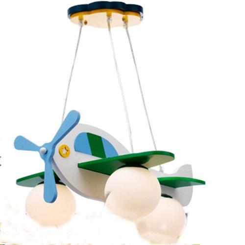 Jungen und Mädchen Lampen Schlafzimmer Kinderzimmer minimalistischem Kronleuchter Schlafzimmerlampe Karikatur Flugzeug (Durchmesser 49cm) - 5