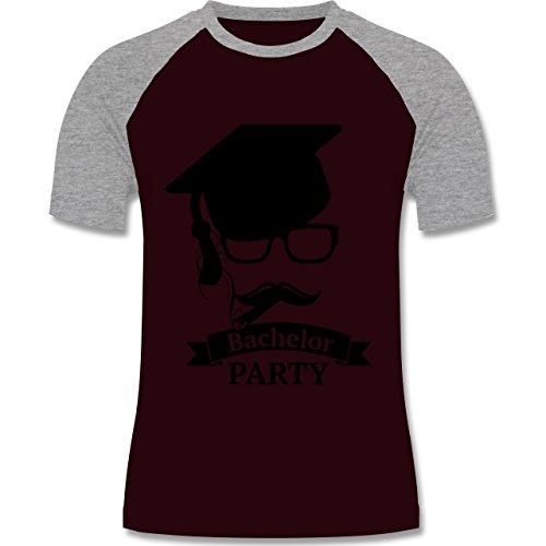 Abi & Abschluss - Bachelor Party Abschluss Studium - zweifarbiges Baseballshirt für Männer Burgundrot/Grau meliert