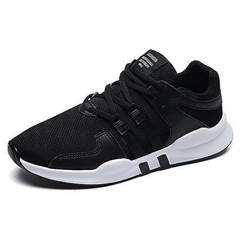 Chaussures de course sport, Chaussures de course à pied Casual Athletic Fashion Chaussons de sport respirants Chaussures de marche Soft Sole Lightweight Lace Up Gym Sports pour femmes et hommes 39-44 ( Color : Black , Size : 39 )