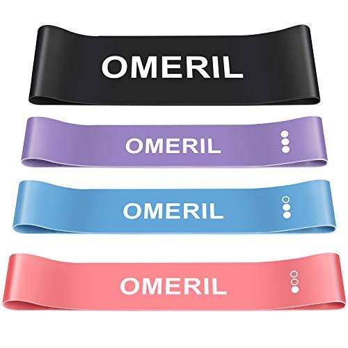 omeril bande fitness resistenza (set di 4) con elastici fitness allargato, bande elastiche 4 livelli di resistenza, ideal per squats, yoga, crossfit, stretching, allenamento di forza e flessibilità