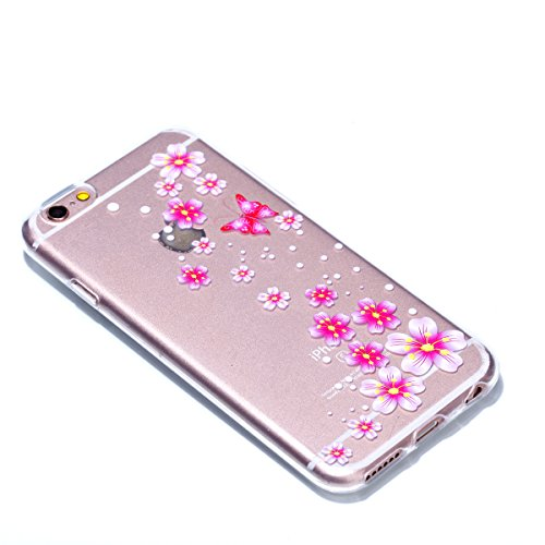iPhone 6 6S Hülle,iPhone 6 6S Case [Scratch-Resistant] , Cozy Hut ® Ananas Design Niedliche Cartoon Malerei Silikon Hülle / Schutzhülle / Cover für iPhone 6 6S (4,7 Zoll), TPU Clear Transparent Protec Rosa Schmetterling Blume