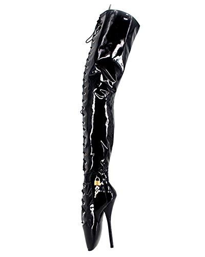 Ballett-stiefel (WONDERHEEL Damen Padlocks Over-Knee Ballett Stiefel Schwarz 44 EU)