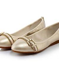 ZQ Zapatos de mujer - Tac¨®n Plano - Comfort / Puntiagudos - Planos - Vestido / Casual - Semicuero - Negro / Rojo / Blanco / Plata / Oro , white-us8 / eu39 / uk6 / cn39 , white-us8 / eu39 / uk6 / cn39