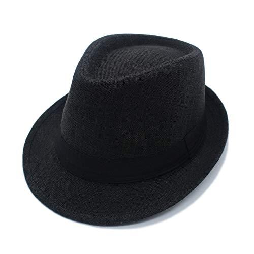JEDAGX Flacher Hut aus neutraler Baumwolle für Herren und Damen, Karierter schwarzer Gürtel, Four Seasons Sun Jazz, 58 cm (Herren Schwarz Fedora)
