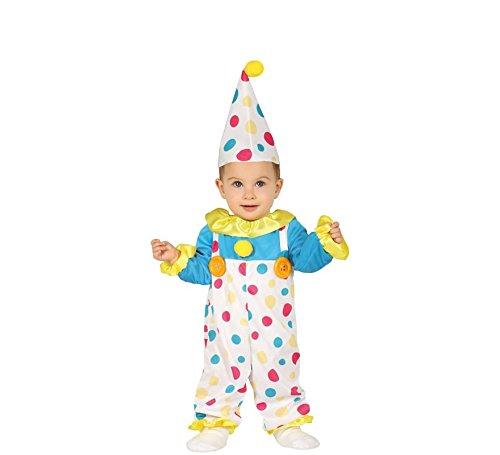 Guirca- Costume da Pagliaccio Neonato 6/12 Mesi, Multicolore, 88385