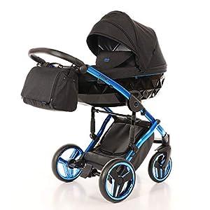 Children's Pram Set JUNAMA Diamond Individual Baby Pram Buggy Baby Seat + Accessories (02 Blau-Schwarz, 3IN1)   15