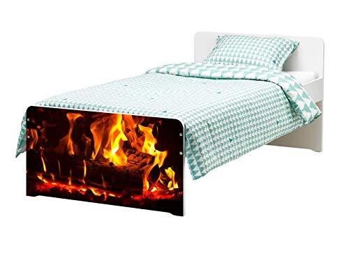 Möbelaufkleber für Ikea SLÄKT Bett Feuer Lagerfeuer Kamin Flamme Kat22 Holz bed Aufkleber Möbelfolie Tür sticker Folie (Ohne Möbel) 25K182 -