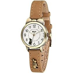 Fq-234 Khaki Leather Strap Bowknot Bunny Design Students Girls Woman Quartz Wrist Watches