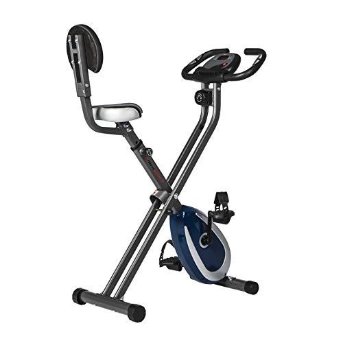 Ultrasport F-Bike 300B bicicleta estática plegable con respaldo, ordenador y App, Gris Oscuro / Azul Marino