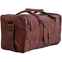 "24"" Men's Genuine Vintage Leather Large Duffle Travel Gym Weekend Overnight Bag"